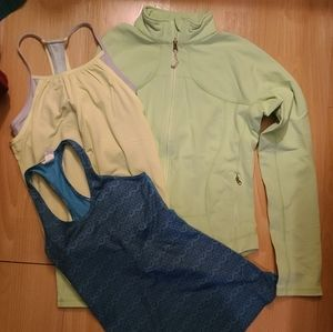 Lululemon jacket and two Ivivva tank tops